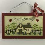 Decoratief bord - Home Sweet Home met rode kader