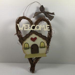 Decoratief bord - Welcome met hartje